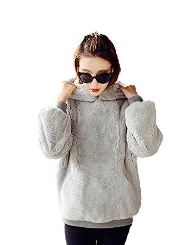 Idopy Sudaderas con capucha de piel sintética cálida de otoño invierno para mujer Gris