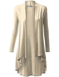 Womens Hi-Lo Draped Open Front Long Cardigan Sweater (S-3X)