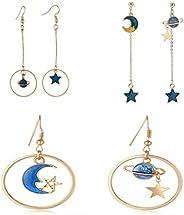 SUNSCSC Enamel Moon Star Earth Planet Drop Hook Earrings Long Pendant Dangle Jewelry for Woman Girls
