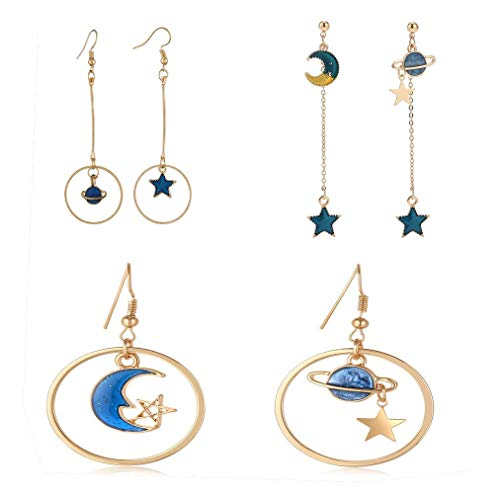 SUNSCSC Enamel Moon Star Earth Planet Drop Hook Earrings Long Pendant Dangle Jewelry for Woman Girls (Earrings Set)