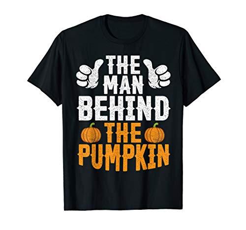 Mens Funny Halloween The Man Behind The Pumpkin Tee, Dad Husband T-Shirt