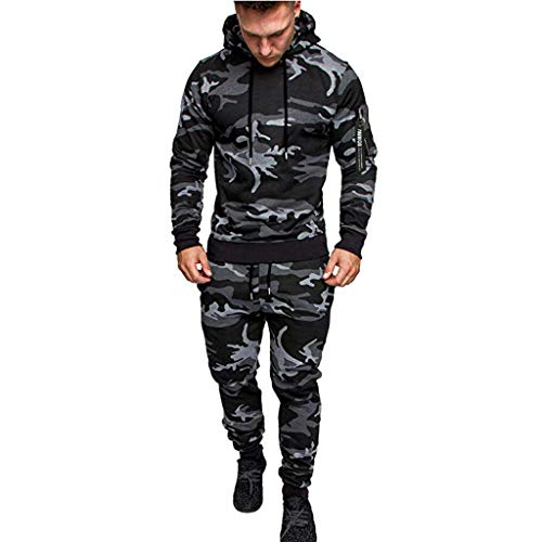 Men's Tracksuit Set Camouflage Sweatshirt Jogger Sweatpants Solid Patchwork Warm Sports Suit (Blue Jeans Skirt Made By Rave)
