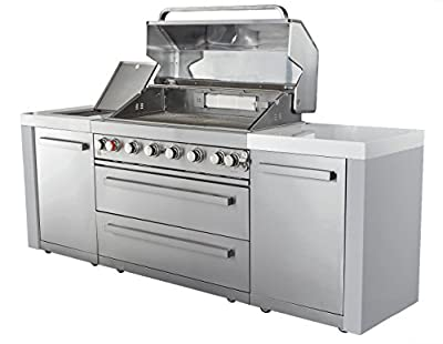 """Mont Alpi MAI805 44"""" Outdoor Barbeque Island, 47.00 x 20.00 x 93.00 inches Stainless Steel"""