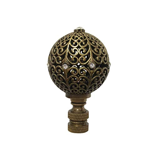 Royal Designs F-5072AB-1 Traditional Filigree Globe with Crystal Embelishments Lamp Finial, Antique Brass