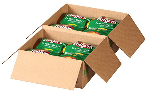 Folgers Filter Packs Classic Decaf Coffee, 2 Boxes 80 Total, Premeasured Coffee and Filter in a Single Pouch, For Use in Commercial Brewer