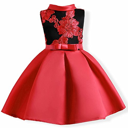 AYOMIS Flower Girl Pageant Dress Kids Party Embroidery Wedding Dresses 2-9 Years(Red,4-5Y)