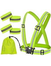 JJunLiM Hoge zichtbaarheid reflecterende polsbandjes/enkelbanden/armbanden, veiligheidsuitrusting voor hardlopen, fietsen, hondenwandelen, joggen, fietsen of vroege ochtend- en nachtactiviteiten