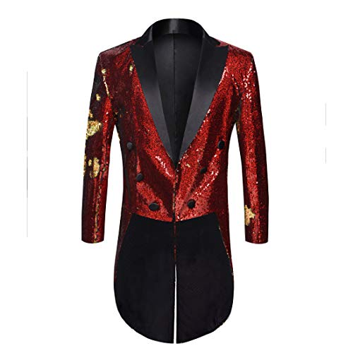 PYJTRL Mens Fashion Double-Color Sequins Tailcoat Tuxedo (Red + Gold, US -
