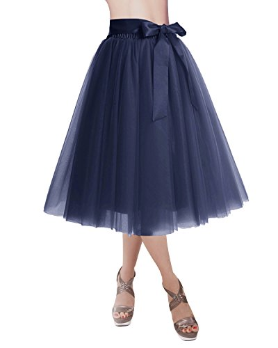 DRESSTELLS Knee Length Tulle Skirt Tutu Skirt Evening Party Gown Prom Formal Skirts Navy M-L]()