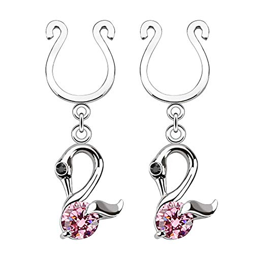 Swan Dangle Clip on Non-Pierce Fake Nipple Rings With Single CZ - Sold as a Pair (Pink)