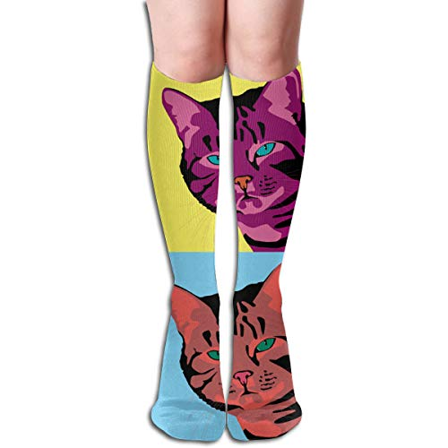 Bandnae 19.68 Inch Compression Socks Cat Colorful Portraits High Boots Stockings Long Hose for Yoga Walking for Women Man ()