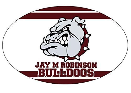 Jay M. Robinson High School Bulldogs Concord North Carolina Sports Team Oval Car Fridge Magnet (Oval Concord)