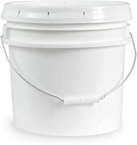 3.5 Gallon White Food Safe Plastic Bucket & Lid - Durable All Purpose Pail - Food Grade - Contains No BPA Plastic (Pack of 6)
