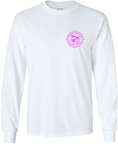 Koloa Surf(tm) Long Sleeve Marlin Logo Heavy Cotton T-Shirt-White/pink-S