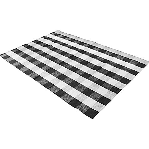 - Levinis 100% Cotton Rug Hand-woven Checkered Carpet Braided Kitchen Mat Black and White Floor Rugs Living Room Area Rug, 47.3''x70.8''