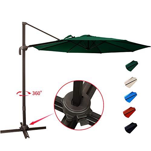KITADIN Cantilever Umbrella - 10Ft Offset Patio Hanging Umbrella,Outdoor Market Umbrellas with Crank Lift  Cross Base (10 Ft, Dark Green)