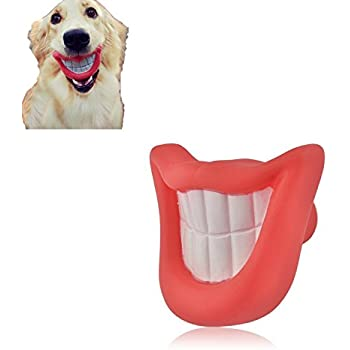 Hapurs Puppy Dog Toys Big Red Lip Rubber Toy Dog Toy Lips for Pet Dogs with Sound Squeaker Squeaky Toys Funny Smile Dog Puppy Toy Interesting Audible Lip
