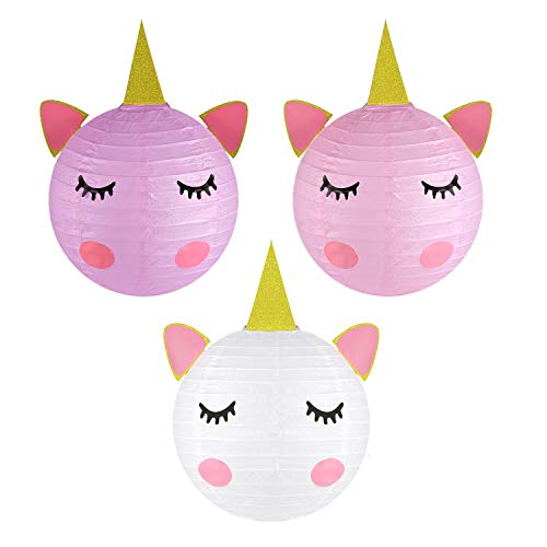 Unicorn Party Decorations - Magical Unicorn Table Centerpieces Paper Lanterns for Unicorn Baby Shower Birthday Party Supplies- Set of -