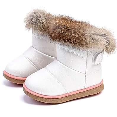 Botas de invierno caliente botas de nieve de las niñas (21 EU, Blanco)