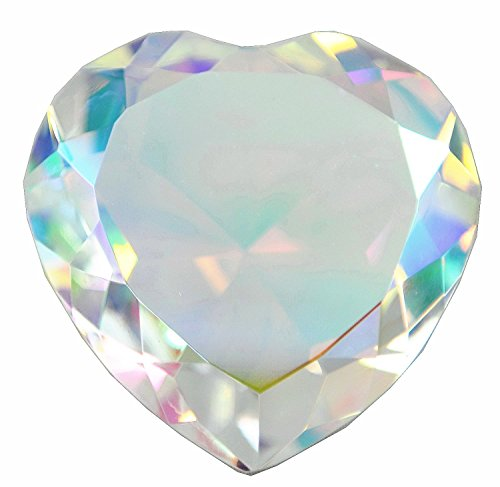 Amlong Crystal Diamond Paperweight, Heart Shaped, 80mm, - Paperweight Cut Diamond