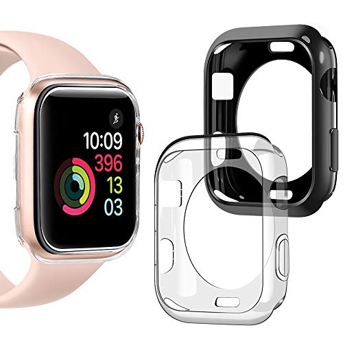 (Goton Compatible iWatch Apple Watch Case 42mm Series 3 2 1, [ 2 Color Packs ] Soft TPU Shockproof Case Cover Bumper Protector (Black + Clear,)