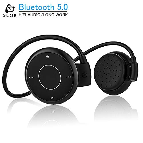 SLUB True Wireless Bluetooth 5.0 Headphones Waterproof Sport HD Stereo TF Card Radio on-Ear Headsets with Mic for iPhone/Android Lightweight Sweatproof Earbuds for Cellphone