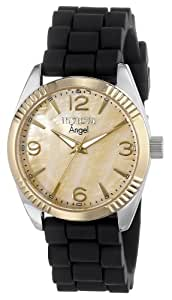 Invicta Women's 15879 Angel Gold Mother of Pearl Dial Black Strap Watch