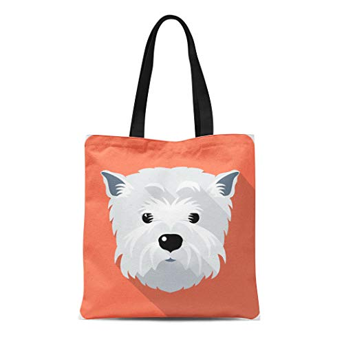 Semtomn Cotton Canvas Tote Bag Westie Dog West Highland White Terrier Face Flat Funny Reusable Shoulder Grocery Shopping Bags Handbag Printed