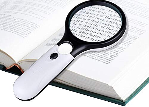 1/2' Diameter Lens - Magnifier Glass Handheld Portable Reading Pocket Magnifier, Magnifying Magnifier with 3 White and Black LEDs for Newspapers and Jewellery