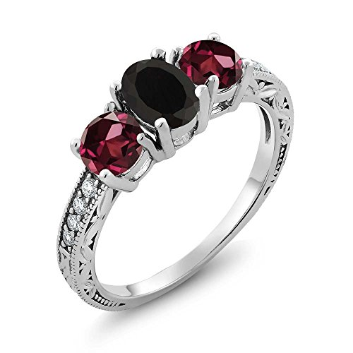 (Gem Stone King 2.12 Ct Oval Black Onyx Red Rhodolite Garnet 925 Sterling Silver Ring (Size 7))