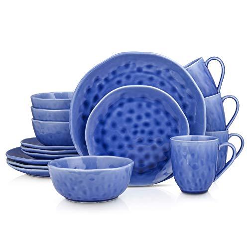 Stone Lain Porcelain Dinnerware Set, Service For 4, Blue