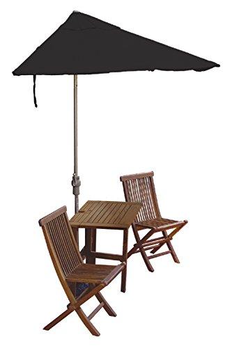 Blue Star Group Terrace Mates Villa Economy Table Set w/ 7.5'-Wide OFF-THE-WALL BRELLA - Black Sunbrella Canopy