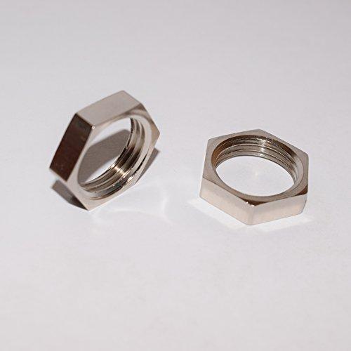 2PC Inter Fittings Brass Nickel Pipe Fitting, Locknut 1/2