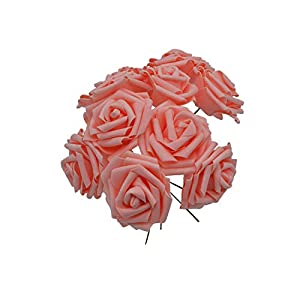 10 Heads 8CM Pretty Charming Artificial Flowers Foam Rose Flowers Bride Bouquet Home Wedding Decor Scrapbooking DIY Supplies,Peach 75