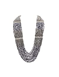 Zephyrr Necklace Multi Strand Stylish Silver Plated Chain Grey Beaded Contemporary