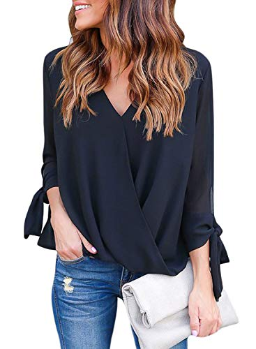 HOTAPEI Black Womens Blouses and Tops for Work Casual Summer 3/4 Long Tie Sleeve Draped Wrap Sexy V Neck Chiffon Blouses Fashion 2019 Loose Fit Tops Shirts M