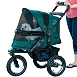 Pet Gear No-Zip Jogger Pet Stroller for Cats Dogs - Zipperless Entry - Easy One-Hand Fold - Air Tires - Cup Holder + Storage Basket - Forest Green