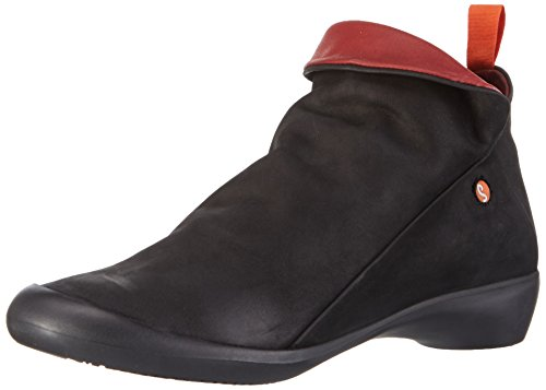SOFTINOS Women's Farah Nubuck Zip Black/Red Ankle Boot