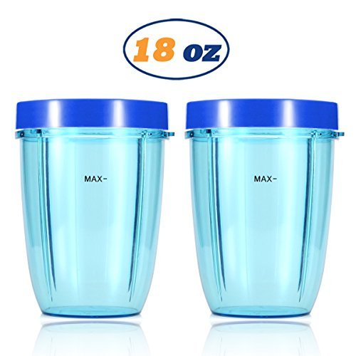 Replacement Blender Cups for NutriBullet Brand Accessories 600w 900w (18oz, Dark Blue Lip Rings) -  Korsmall
