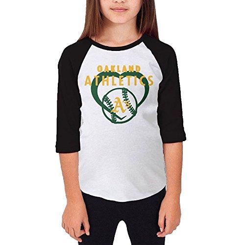 Price comparison product image Hotboy19 Youth Girls Oakland Sport Baseball Logo Raglan Baseball T Shirt Black Size L
