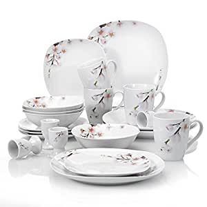 VEWEET 20-Piece Porcelain Dinnerware Sets Ivory White Square Flower Pattern Plate Sets Service  sc 1 st  Amazon.com & Amazon.com | VEWEET 20-Piece Porcelain Dinnerware Sets Ivory White ...