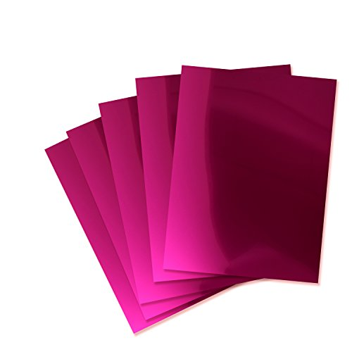 Rozzy Crafts Hot Pink Metallic Heat Transfer Vinyl HTV - 5 Sheets Each 10 in x 12 in HTV for Cricut and Silhouette ()