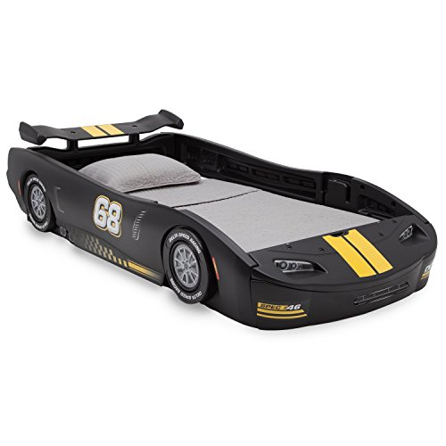 (Delta Children Turbo Race Car Twin Bed, Black)