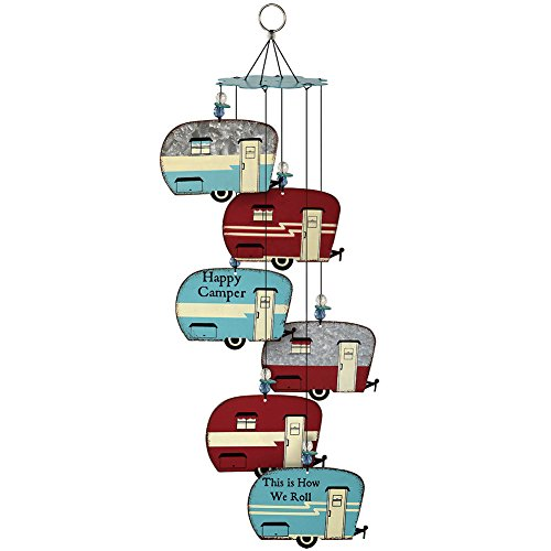Happy Campers Retro Trailer Wind Chimes - 6 Weathered Galvanized Metal Signs (Weathered Metal Sign)
