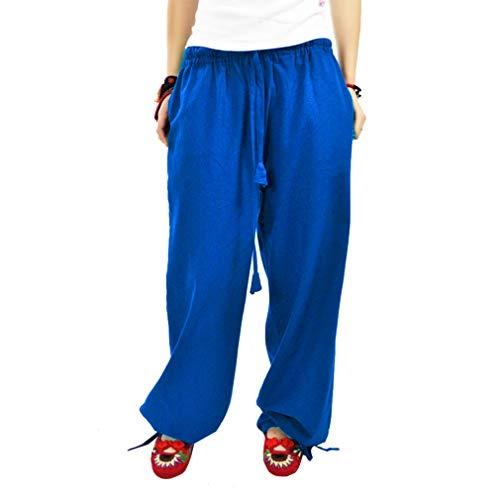 Donna Media Pantaloni A Con L Cordoncino 2 Colore Elegante M Mode Larga Gamba Larghi Blu Vita Solido Casuale wrvEqwWH