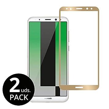 Vahalla Accesorios [2 Unidades] Protector de Pantalla para Huawei Mate 10 Lite Cristal Templado COBERTURA COMPLETA de la Pantalla en color Dorado 0,33 mm, ...