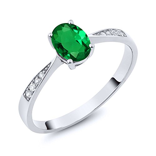 (Gem Stone King 10k White Gold Green Simulated Emerald and Diamond Women's Ring 0.66 cttw Available in size 5, 6, 7, 8, 9)