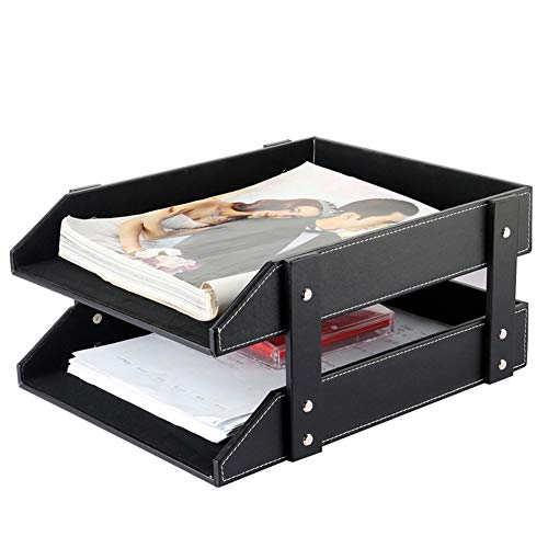 Heatleper 2 Tier Leather Document Tray Holder, Paper Organizer Tray A4 File Folder Rack Paper Document Magazine Holder Desk Organizer for Office School Home (Black) by Heatleper (Image #1)