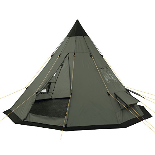 CampFeuer – Tipi Zelt (Teepee), 365 x 365 x 250 cm, olivgrün, Indianerzelt, Camping Pyramidenzelt