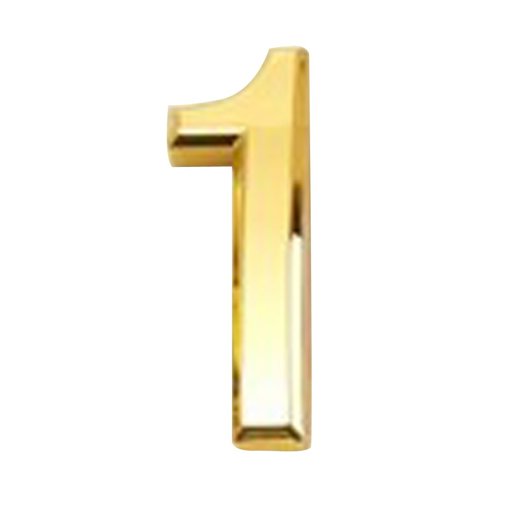 DYNWAVE Mailbox Numbers, Solid Self-Stick Number 1 for Mailbox, Door, Apartment, Hotel, 3D Plastic Golden